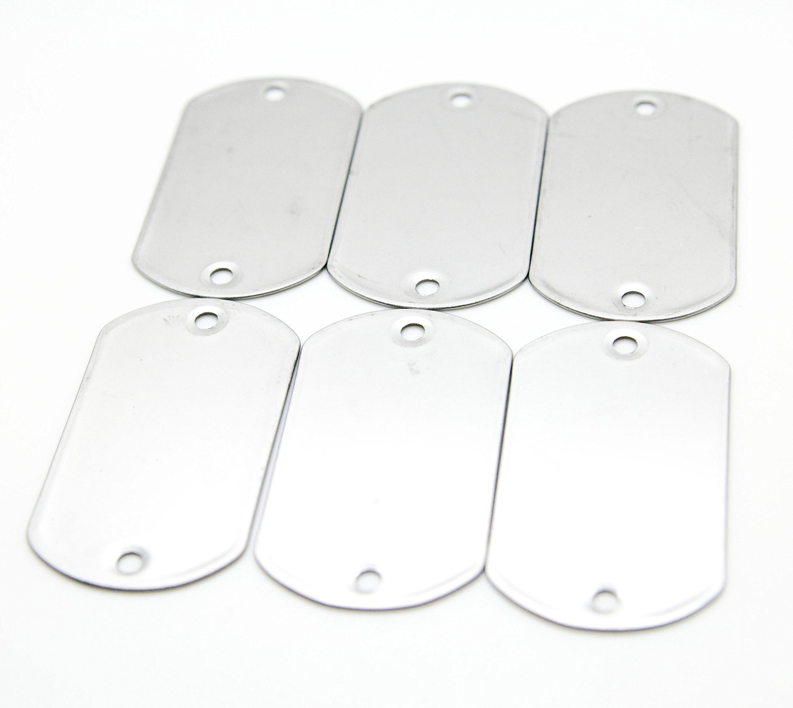 100pcs Blank 2-Hole Matte Finish Stainless Steel Military Spec Dog Tags Rolled Edge Backing