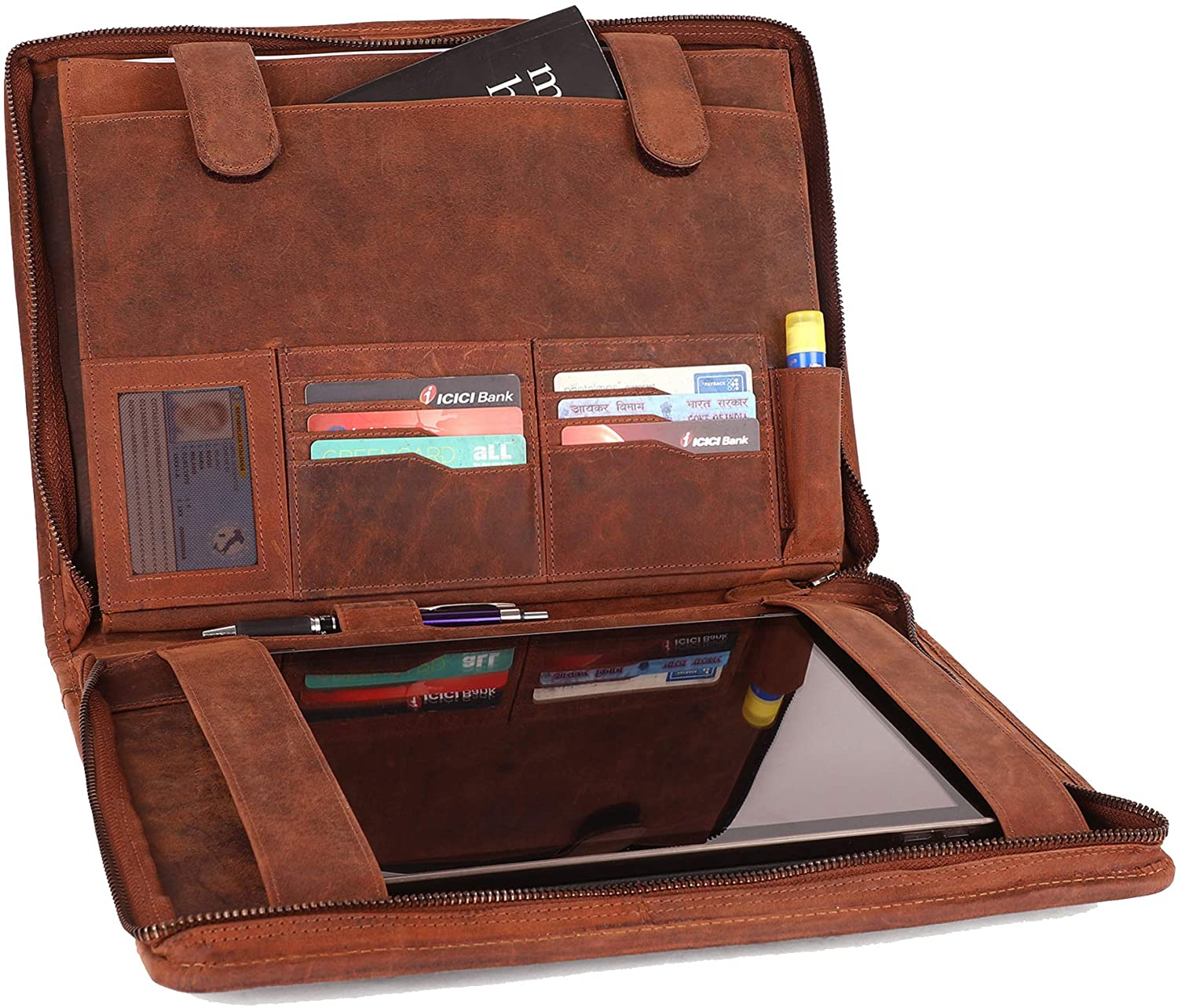 Supreme Business Portfolio by Rustic Town | Professional Organizer for Men & Women | Durable Leather Padfolio | Easy to Carry with A Zippered Closure | Many Slots, Compartments & Holders