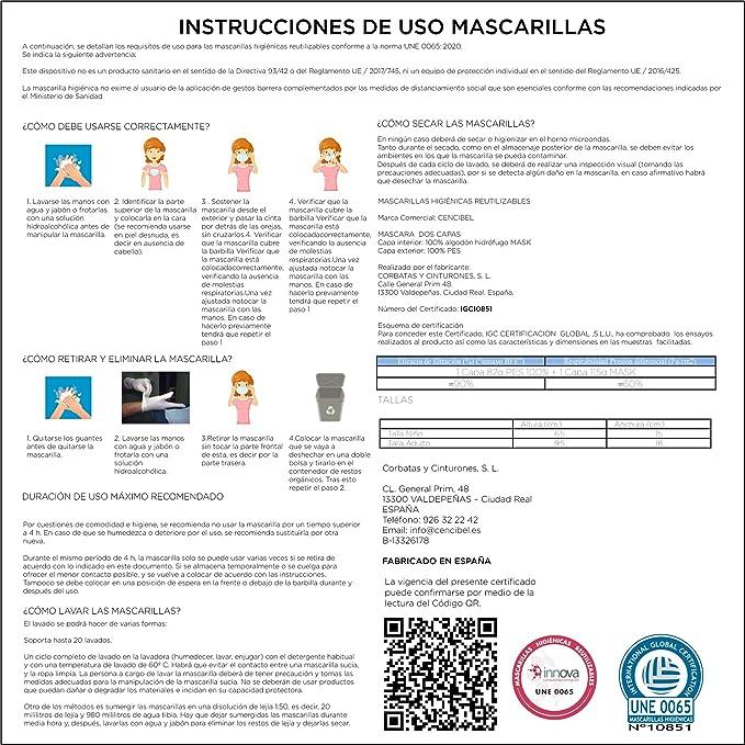 Cencibel Smart Casual Mascarilla Bandera de España Verde: Amazon.es: Ropa y accesorios