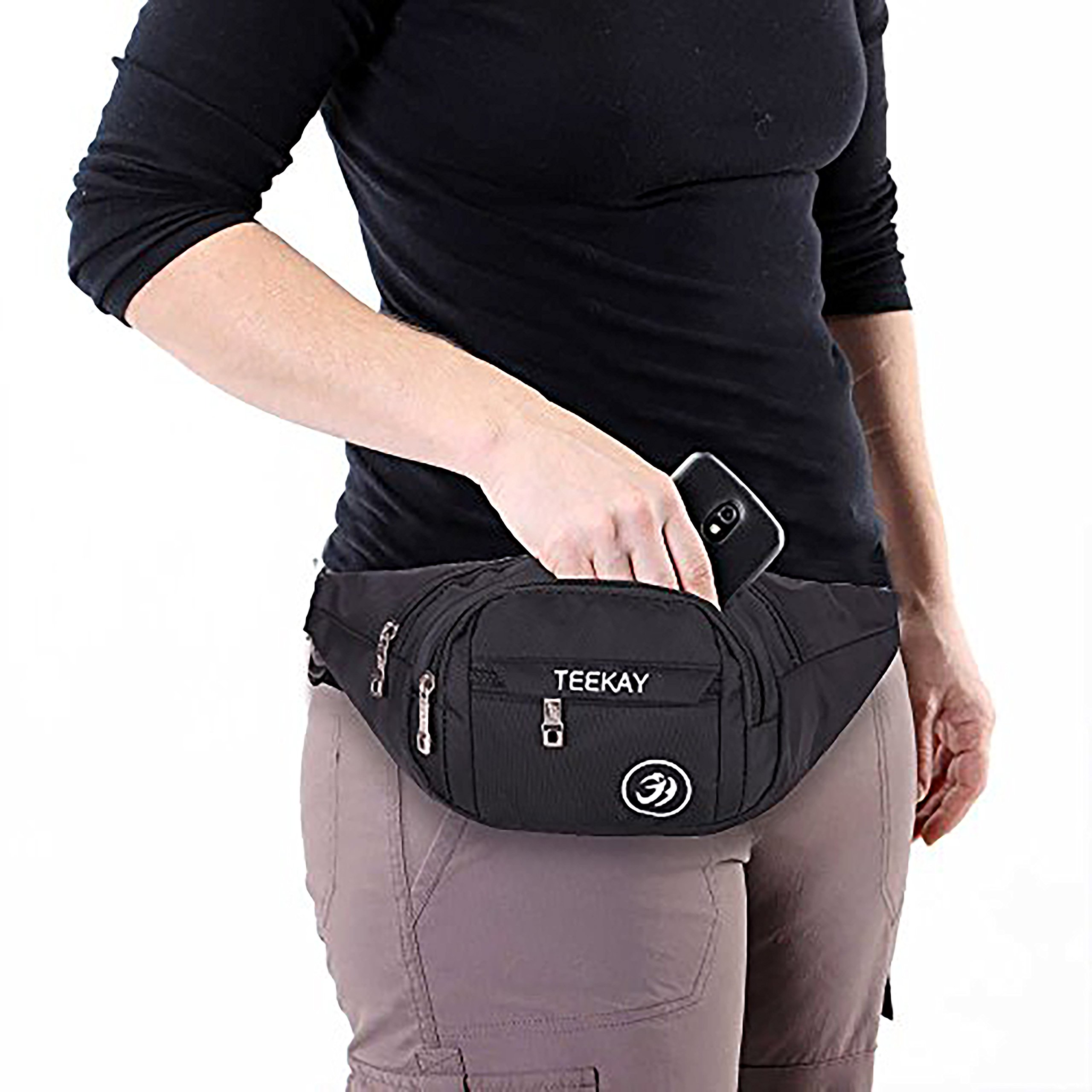 Waist Bag Fanny Pack Travel Belt Hip Pouch Purse for Men Women Running Walking Hiking by TeekayBrands (Image #3)