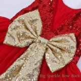 Cilucu Flower Girl Dress Baby Toddlers Sequin Dress Tutu Kids Party Dress Bridesmaid Wedding Gown Birthday Dress Red Gold 3T-4T