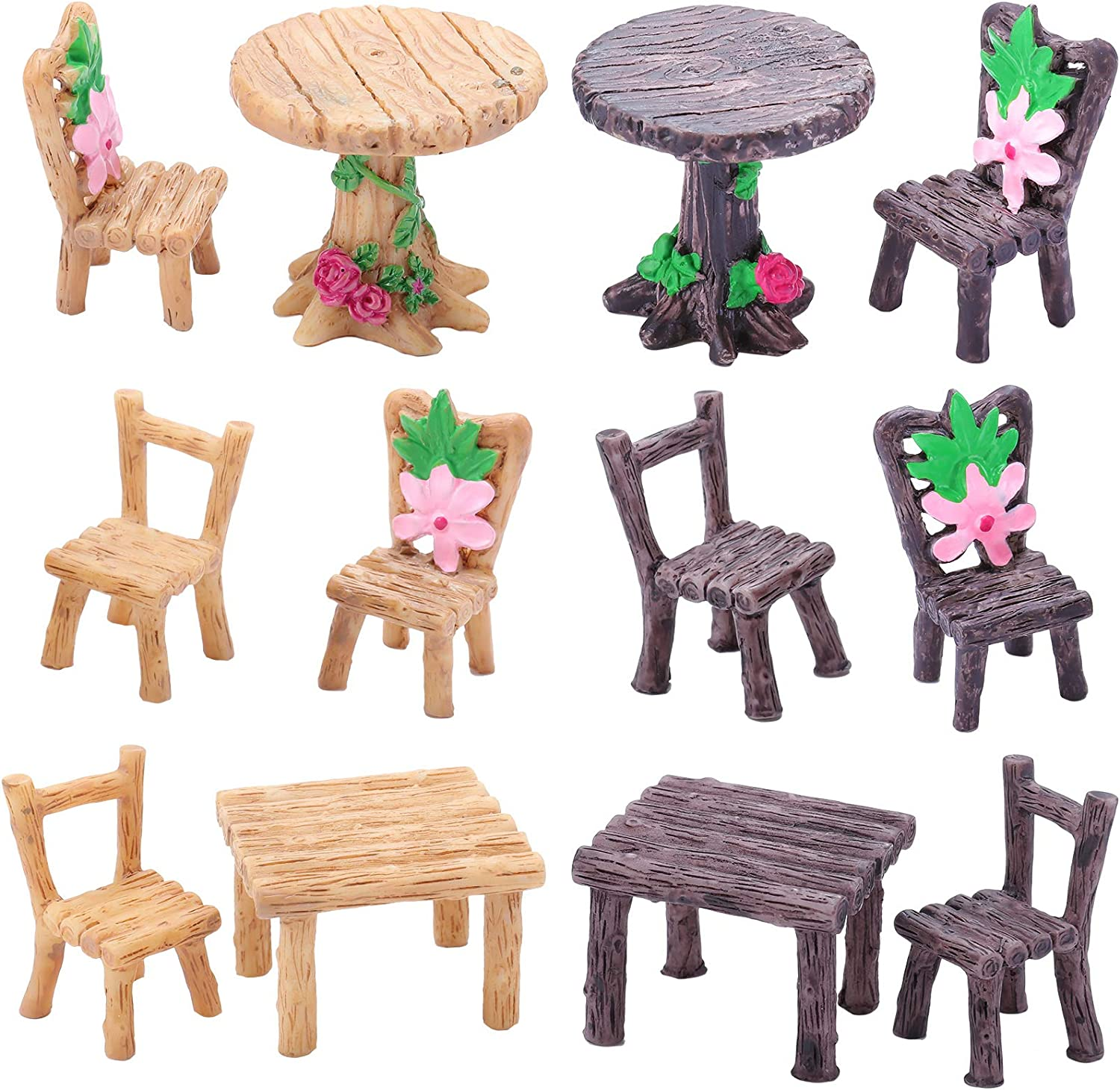 Skylety 12 Pieces Miniature Table and Chairs Set, Wooden Fairy Garden Furniture Ornaments Dollhouse Resin Fairy Table Chair for Dollhouse Accessories Home Micro Landscape Decoration