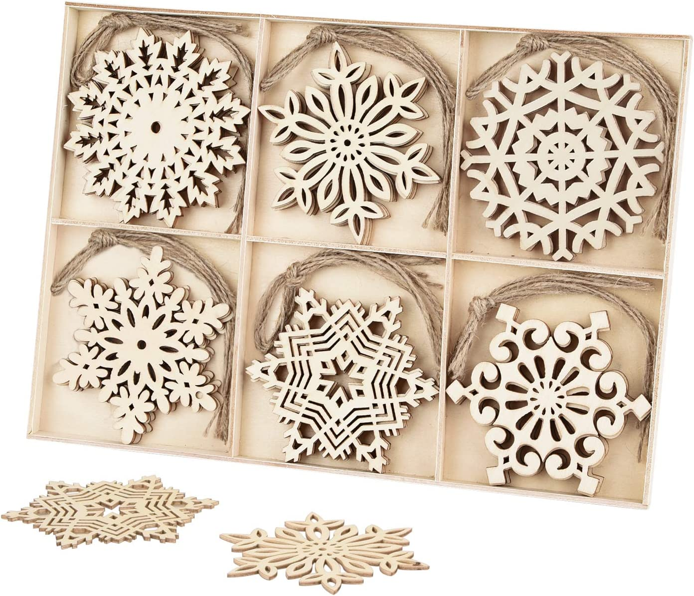 30pcs Unfinished Wooden Snowflakes Ornaments, Binswloo 4 inch Wood Hanging Embellishments for Rustic Christmas Decoration DIY Crafts, with Storage Tray