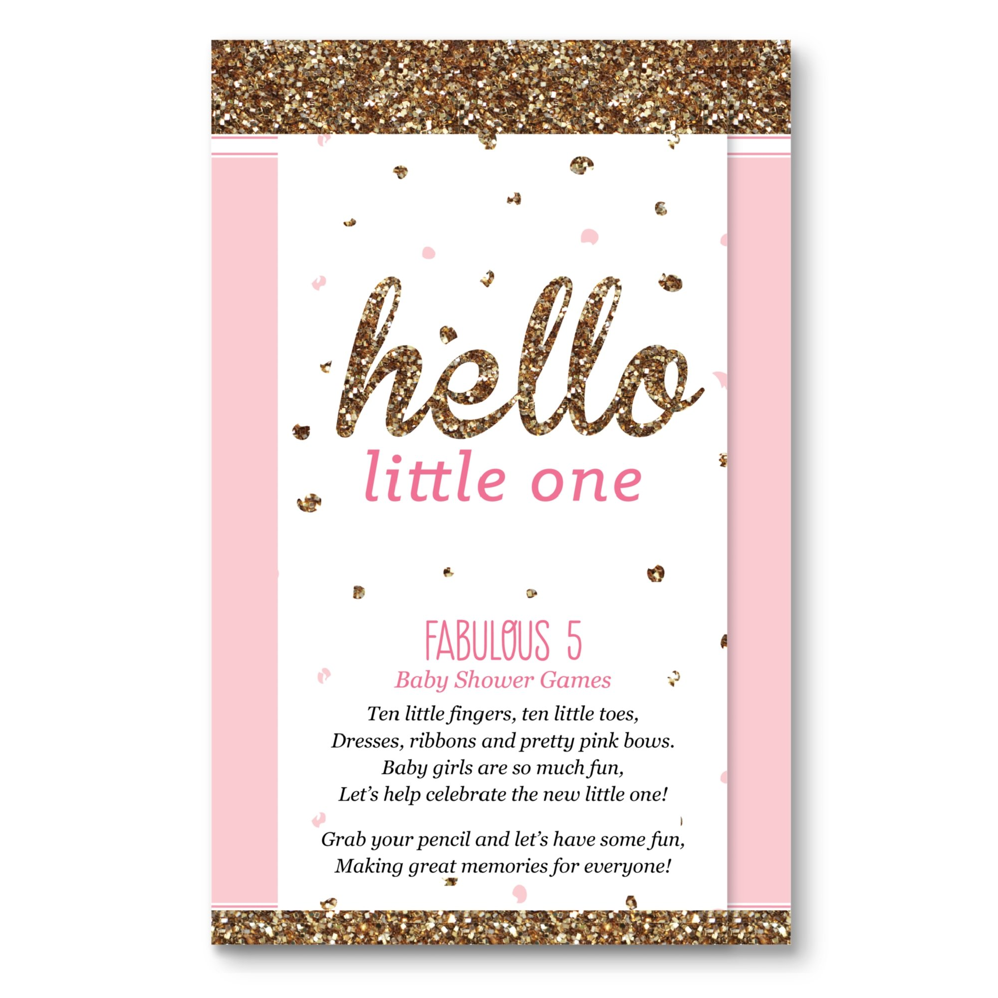 Big Dot of Happiness Hello Little One Girl - Pink and Gold - Baby Shower Games Pack – 5 Games in 1 - Fabulous 5 - Set of 12