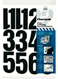 Chartpak Self-Adhesive Vinyl Numbers, 4 Inches High, Black, 23 per Pack (01193)