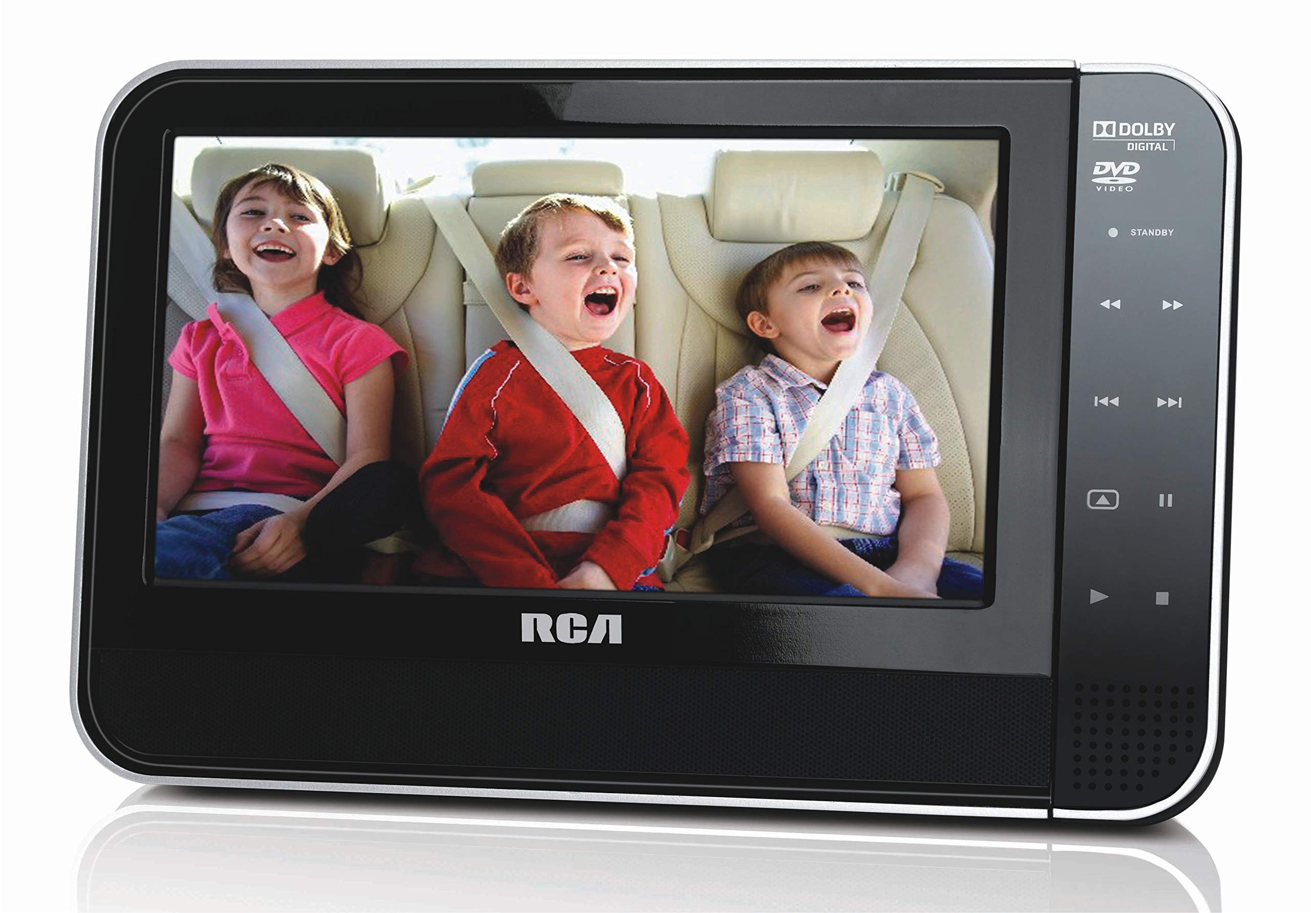 RCA 8 Inch Mobile DVD Player with Headrest mounting kit | Remote Control | Car and AC Power adapters