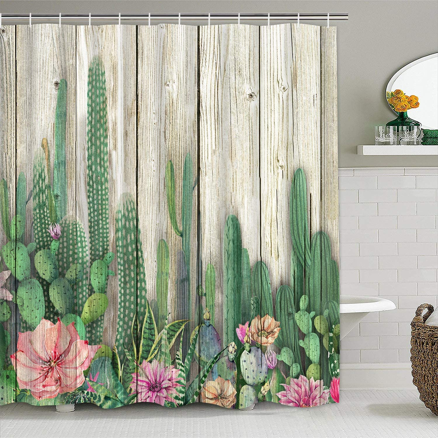 Amazon Com Cactus Shower Curtain Wooden Board Shower Curtain With 12 Hooks Cacti Tropical Succulent Shower Curtain Blossom Plant Flowers Bathroom Shower Curtains Home Kitchen