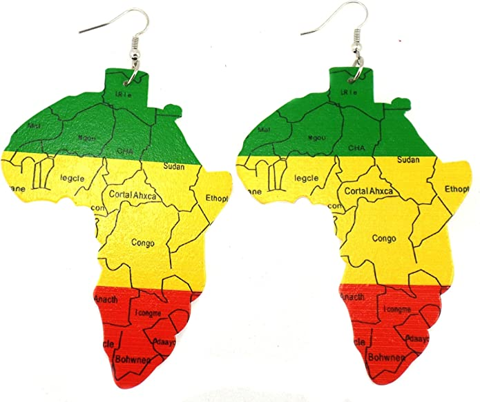 African Map Rastafarian Colours Earrings BNWL