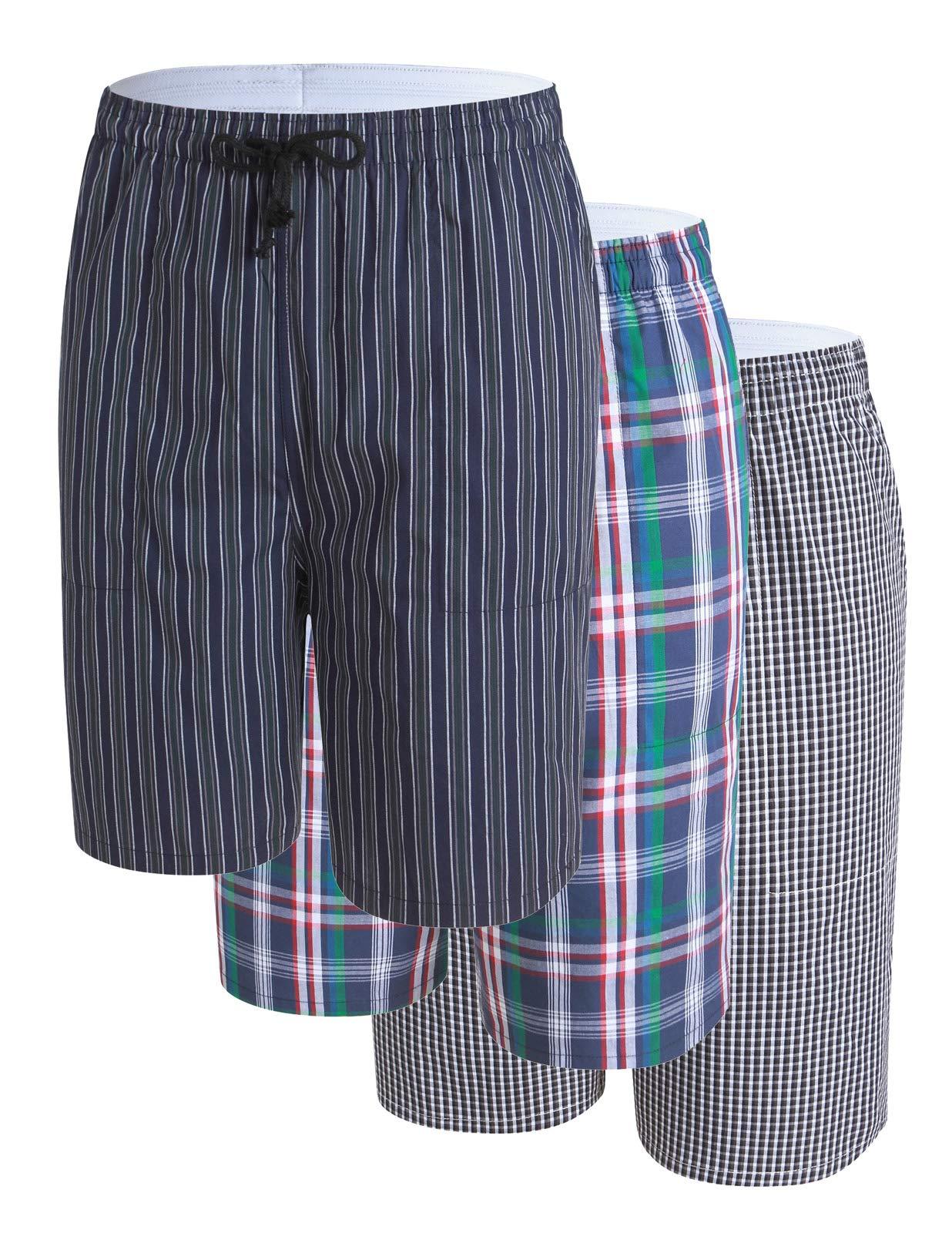 PAUL JONES Men's Summer Shorts for Beach Plaid Pajama Bottoms 3 Pack