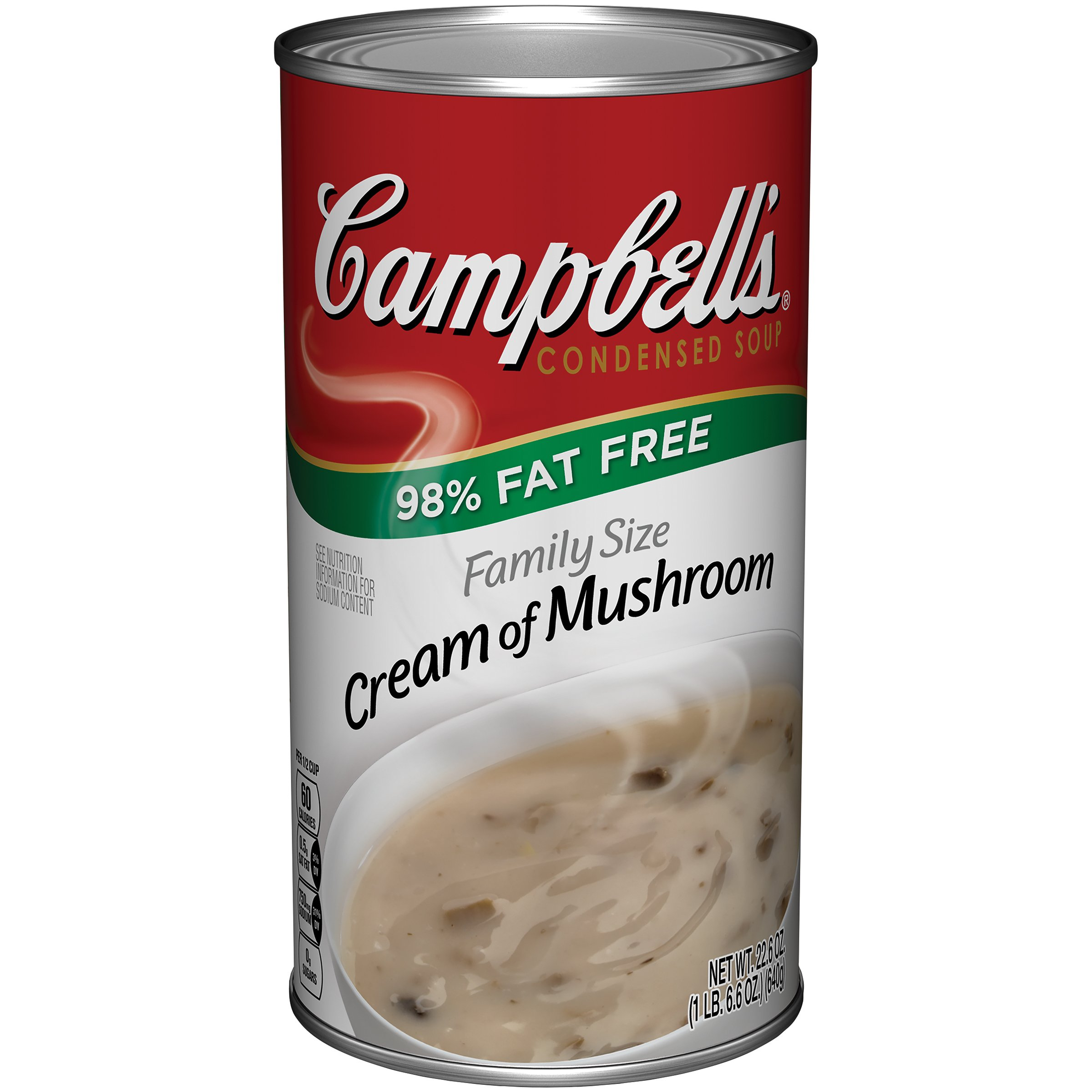 Campbell's 98% Fat Free Condensed Soup, Cream of Mushroom, Family Size, 22.6 oz.