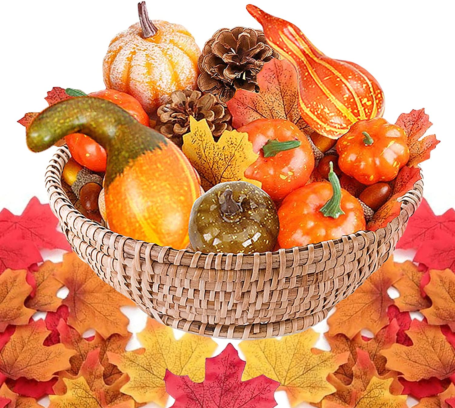 Kalolary 50Pcs Thanksgiving Artificial Pumpkins Home Harvest Decoration Set, Fake Pumpkins Gourds Maple Leaves Pine Cones Acorns