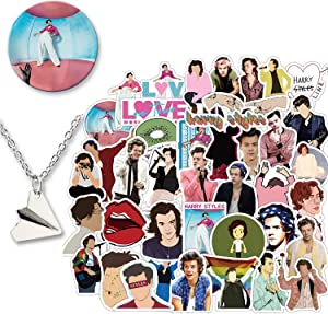 Kilmila Harry Edward Styles Stickers 50Pcs (with Harry Styles Button Pin and Paper Airplane Necklace).Popular English Singer Decals for Laptop Snowboard Bicycle