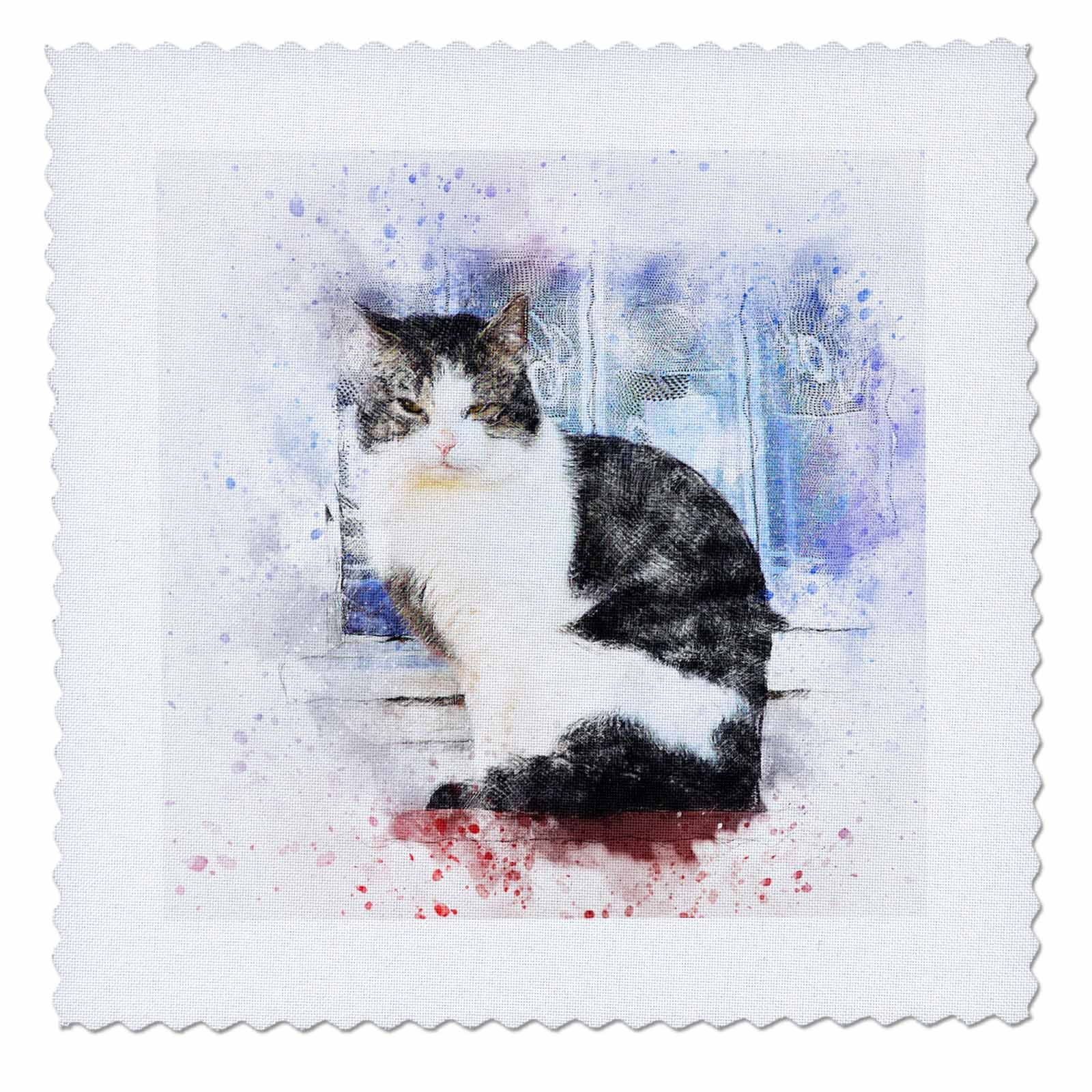 3dRose Sven Herkenrath Animal - Cat Pet Animal Kitty Love Watercolor Illustration - 14x14 inch quilt square (qs_280277_5)