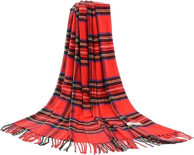 Grand femmes tartan rouge vert foulard femme châle wrap plaid vérifié foulards