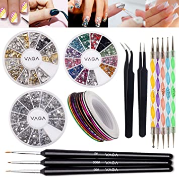 Amazon Set Of Nail Art Accessories With 3d Silver And Golden