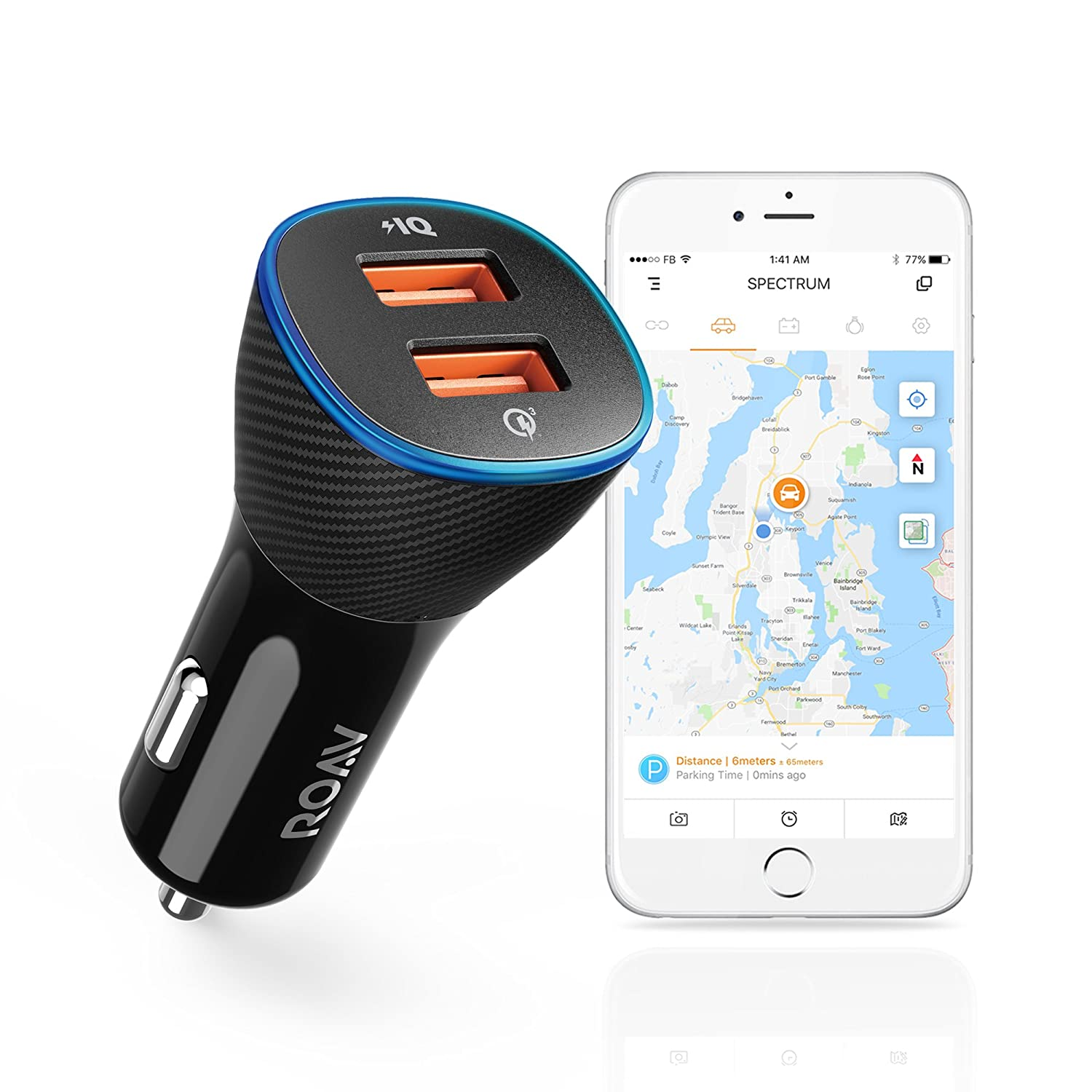 roav by Anker SmartChargeスペクトル、接続され車App、car-batteryモニタ、車、ロケータ30 W Quick Charge 3.0 and PowerIQ 2.0高速充電2ポートUSB車充電器with 16000色LEDライト B075RV7KRM