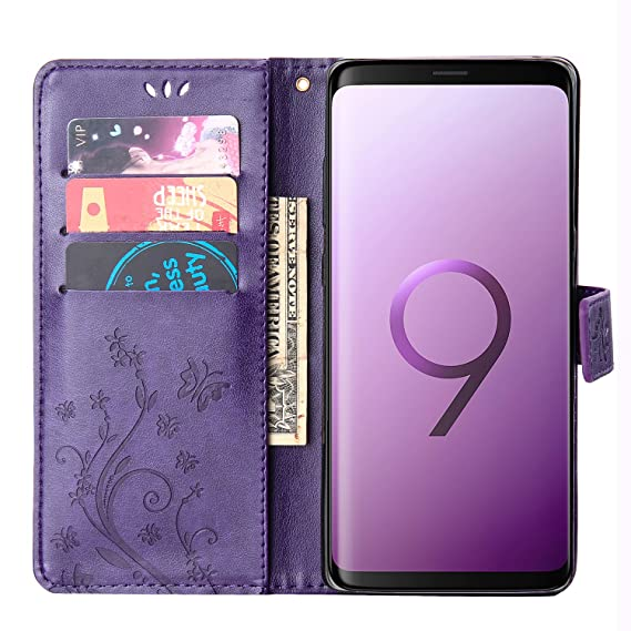 reputable site 8978d 6a115 Samsung S9 Plus Case,Galaxy S9 Plus Wallet Case,FLYEE Flip Case Wallet  Leather Emboss Butterfly Flower Magnetic Protective Cover with Card Slots  for ...