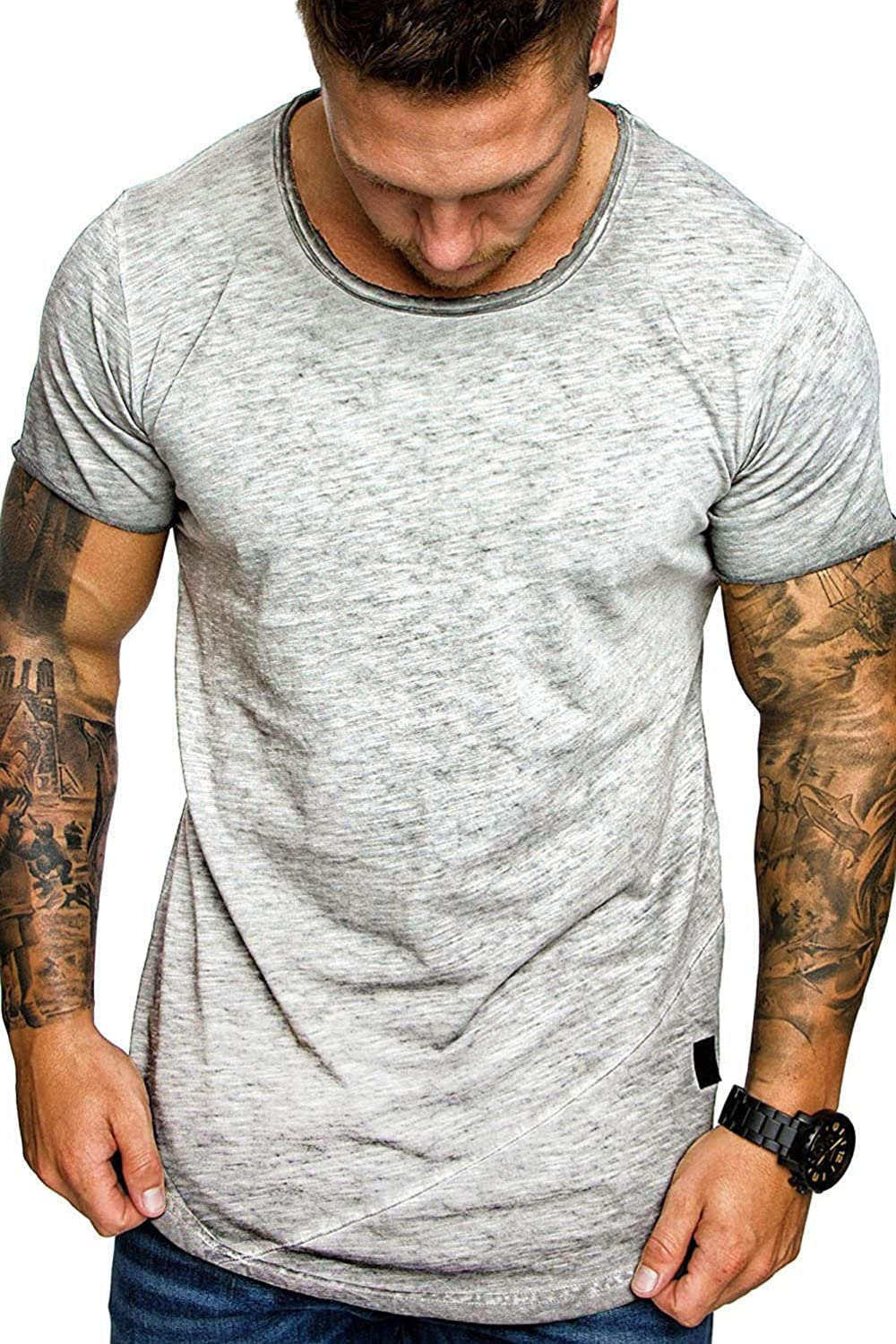 Trendy Men/'s Slim Fit O Neck Short Sleeve Muscle Tee T-shirt Casual Tops Blouse