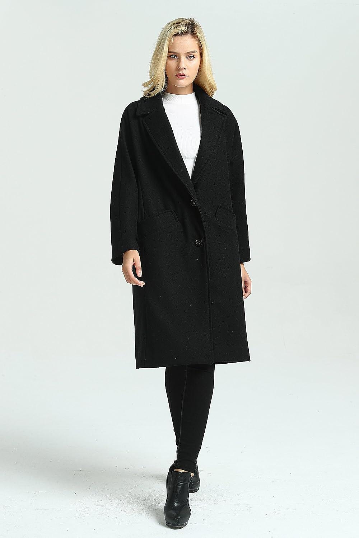 2161cfe4b6ec Amazon.com  Grace Women s Woolen Long Coat Woolen Warm Jacket ...