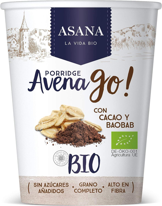 Porridge de avena y espelta con cacao y baobab 55gr ASANA: Amazon ...