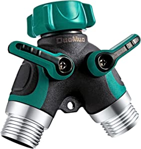 DuoMuo 2 Way Y Hose Splitter Hose Connector Garden Outdoor Faucet - with Comfortable Rubberized Grip - 5 Washers