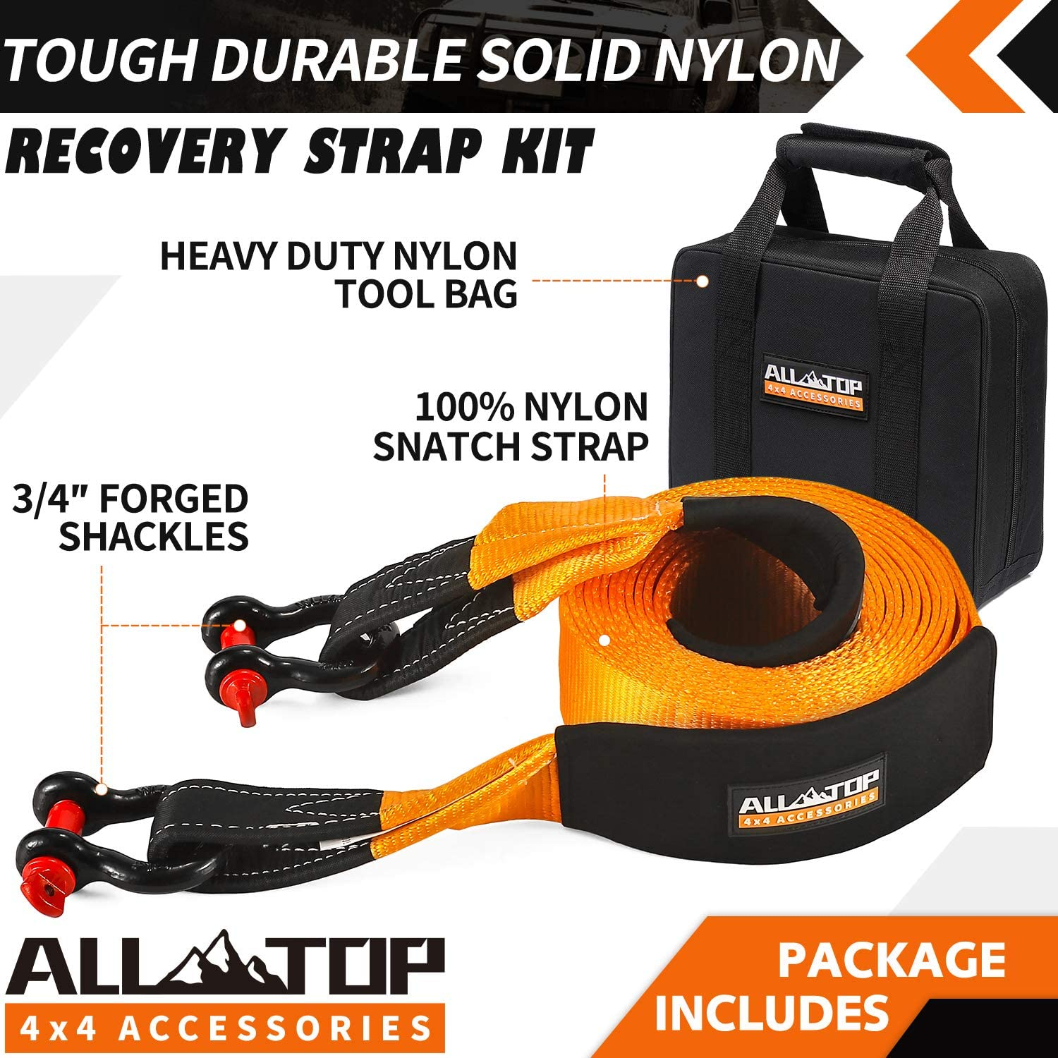 20/% Stretch 11Tons Heavy Duty Drying Bag and Storage Bag Breaking Strength 24200LBS Water Resistant Neoprene Sleeve Reinforced Loops Inc RAYTEEN Nylon Recovery Tow Strap 4in x 30ft Wrap Strap