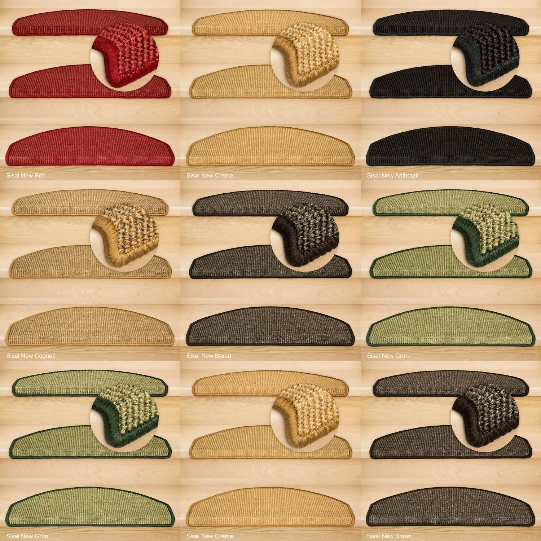 Kettelservice-Metzker® Stufenmatten Sisal New Halbrund in versch. Farben und Set Varianten Grün 22 Stück