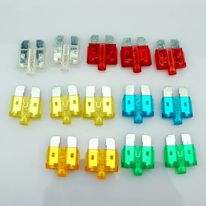 14 Car Vehicle ATU Standard Blade Fuse Assortment Kit With Status LED Glow Blow 5A 10A 15A 20A 25A 30A