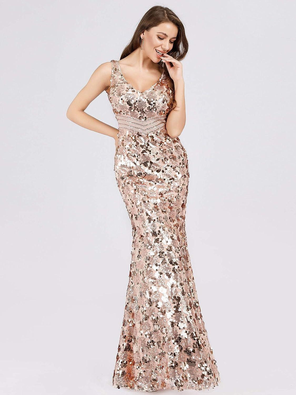 Ever-Pretty Sirena Vestito da Sera Paillettes Donna Lungo Scollo a V 07872