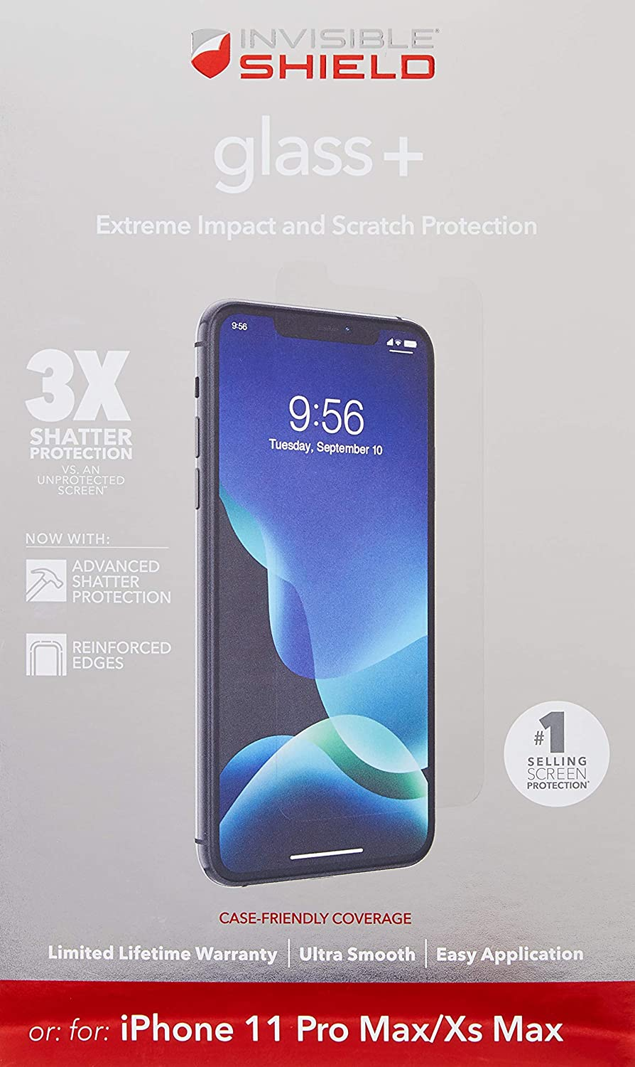 ZAGG InvisibleShield Glass+ Screen Protector – High-Definition Tempered Glass Made for Apple iPhone 6.1 – Impact & Scratch Protection