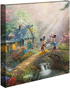 Thomas Kinkade Studios Disney's Mickey and Minnie Sweetheart Bridge 14 x 14 Gallery Wrapped Canvas