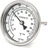 "CONCORD 3"" Stainless Steel Thermometer for Home Brewing (2"" Stem)"