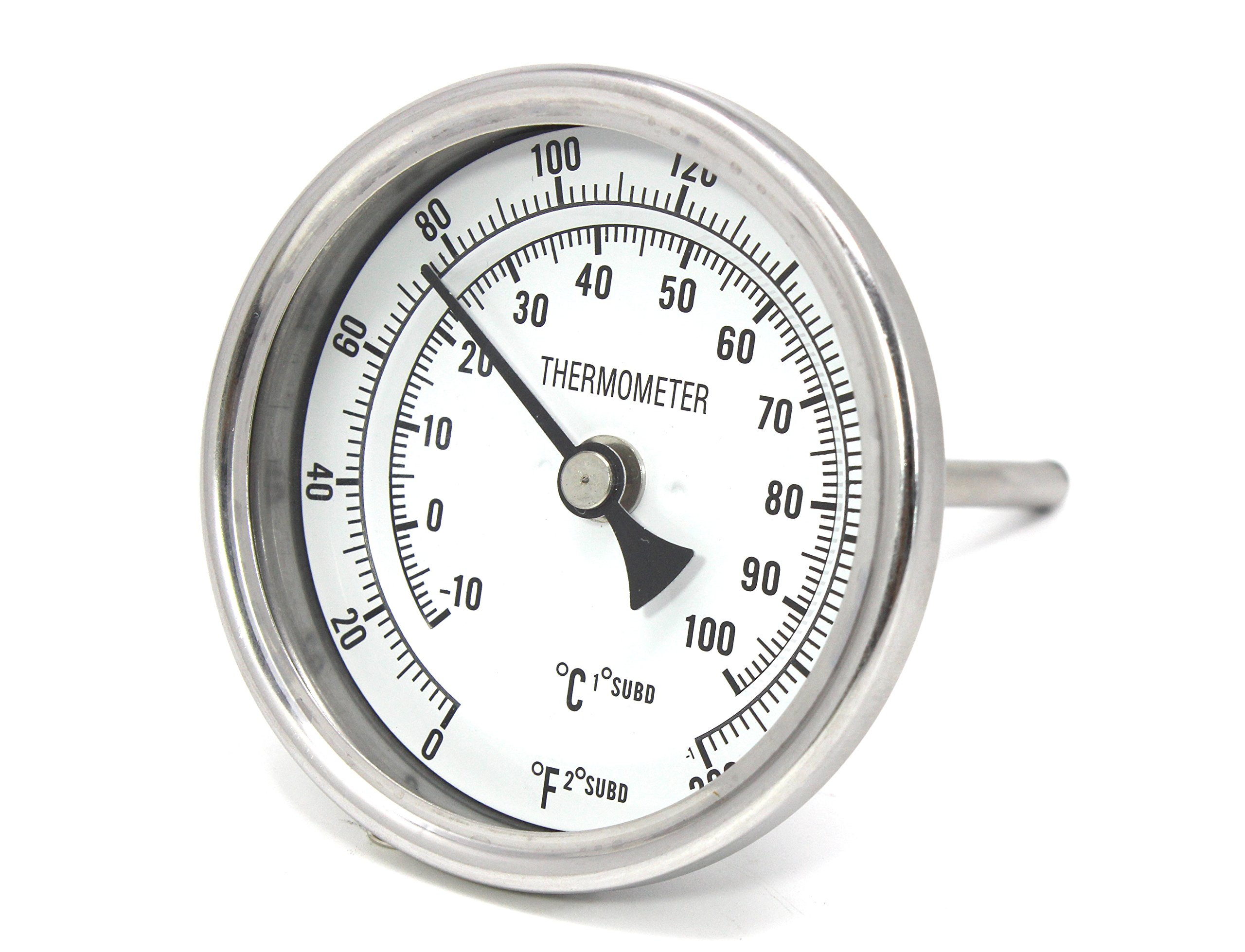 CONCORD 3'' Stainless Steel Thermometer for Home Brewing (2'' Stem)