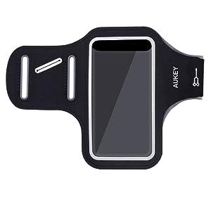 AUKEY Brassard Sport iPhone 6 / 6s Anti-Sueur avec Sangle Réglable et Porte-clés Compatible avec les Smartphones Inférieur à 4,7 Pouces ( Noir )