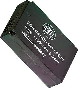 BM Premium LP-E12 Battery for Canon SX70 HS, Rebel SL1, EOS-M, EOS M2, EOS M10, EOS M50, EOS M100, EOS M200 Mirrorless Digital Camera