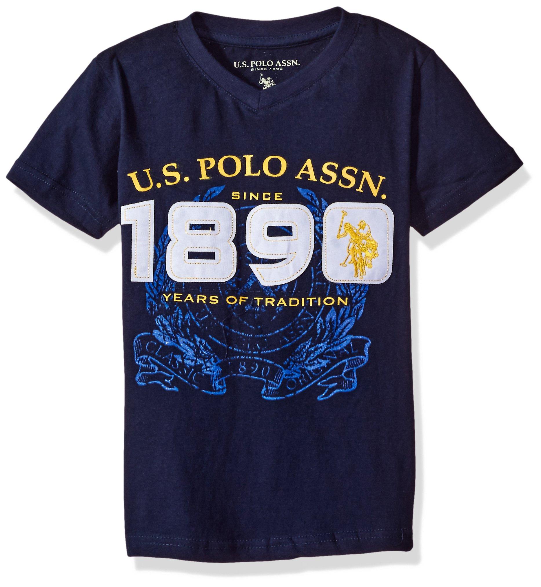 U.S. Polo Assn. Boys' Little Graphic Embellished V-Neck T-Shirt, Classic Navy H5SA73NAV1 4