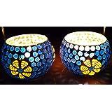 TARANG UDYOG Pair of 2 Multicolour Ceramic VOTIVES Glass Candle Holder
