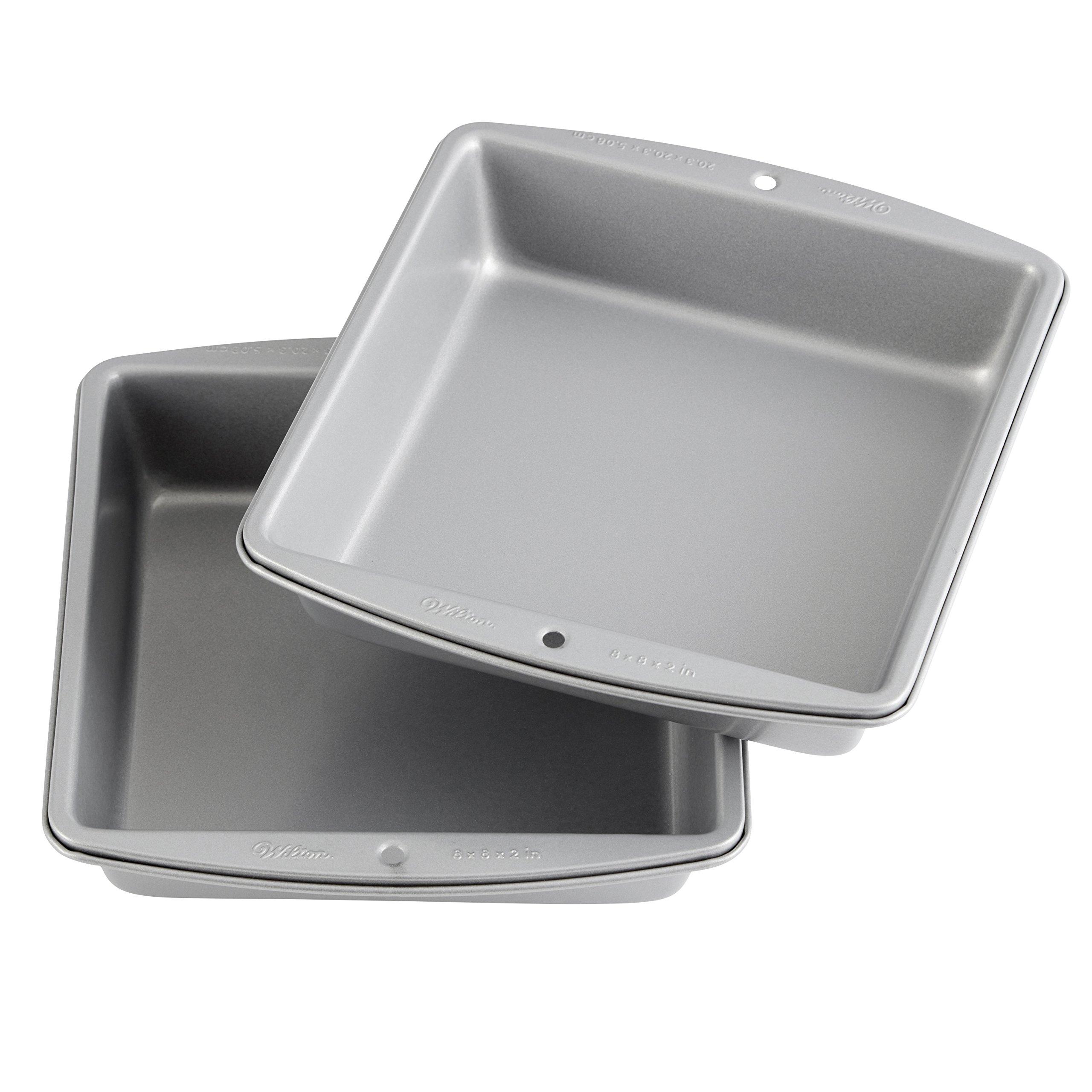 Wilton Recipe Right - 8-Inch Non-Stick Square Cake Pans, Multipack of 2 by Wilton