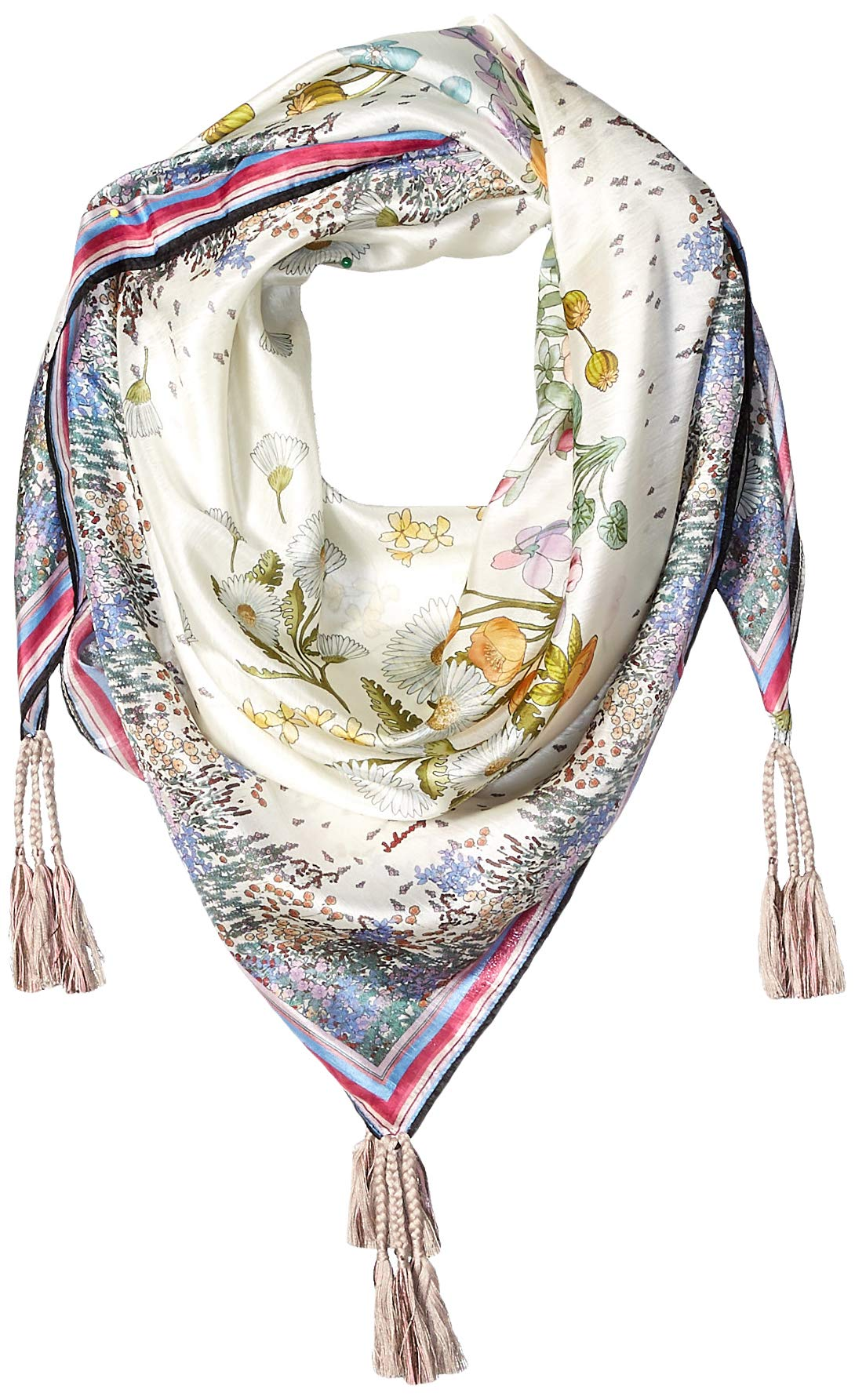 Johnny Was Women's Patterned Silk Square Scarf with Tassels, Multi, O/S