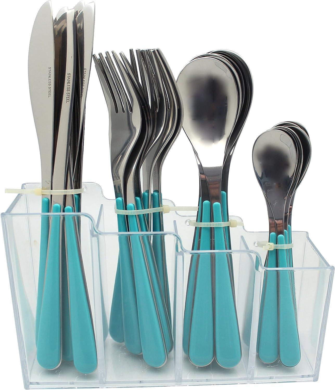 EXZACT Set de 24 Cubiertos de Acero Inoxidable con Estante de plástico – Mangos de Colores – 6 Tenedores, 6 Cuchillos, 6 cucharas, 6 cucharitas - Azul (EX153)