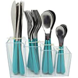 EXZACT EX153 24 Pezzi Posate in Acciaio Inox in Un Contenitore in plastica - Manici Colorati - 6 forchette, 6 coltelli, 6 cucchiai da Cena, 6 cucchiaini da tè - Blu