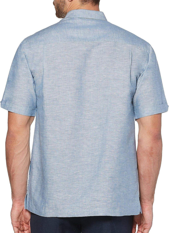 Cubavera Mens Leafy Palms Lattice Border Print Embroidery Shirt