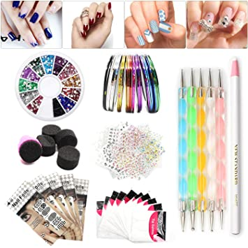 Nail Art Set, Tape Line Nail Stickers, Colored Rhinestones Decoration, 45  Sheets Nail