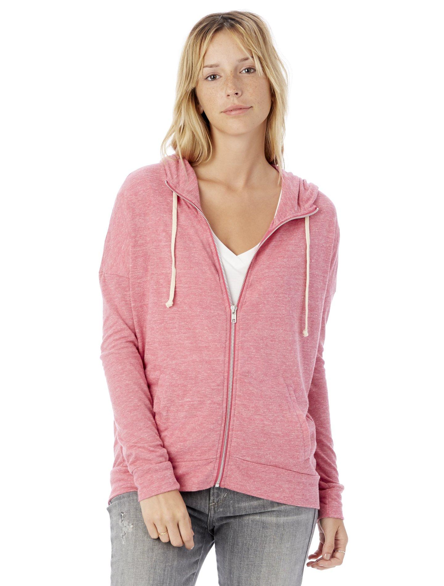 Alternative Women's Eco Jersey Cool Down Zip Hoodie Sweatshirt, Eco Summer Berry, 2X