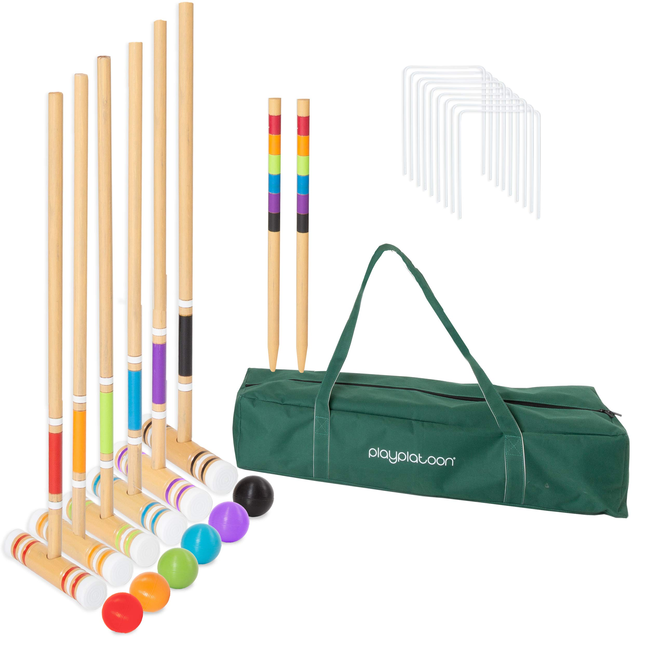 Lawn Croquet Set for Kids & Adults - Six Player Croquet Game with 6 Mallets, 6 Balls, 9 Wickets, 2 Stakes & Carry Bag by Play Platoon (Image #1)