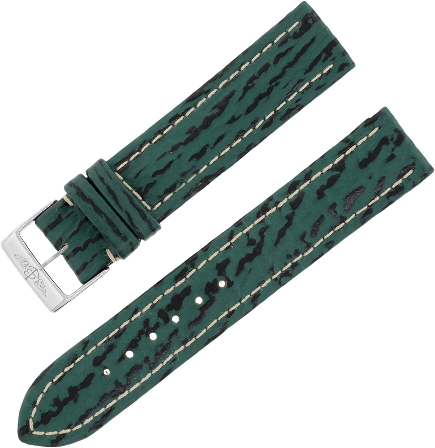 Breitling Y999 18-18mm Genuine Leather Green Unisex Watch Band w. Buckle