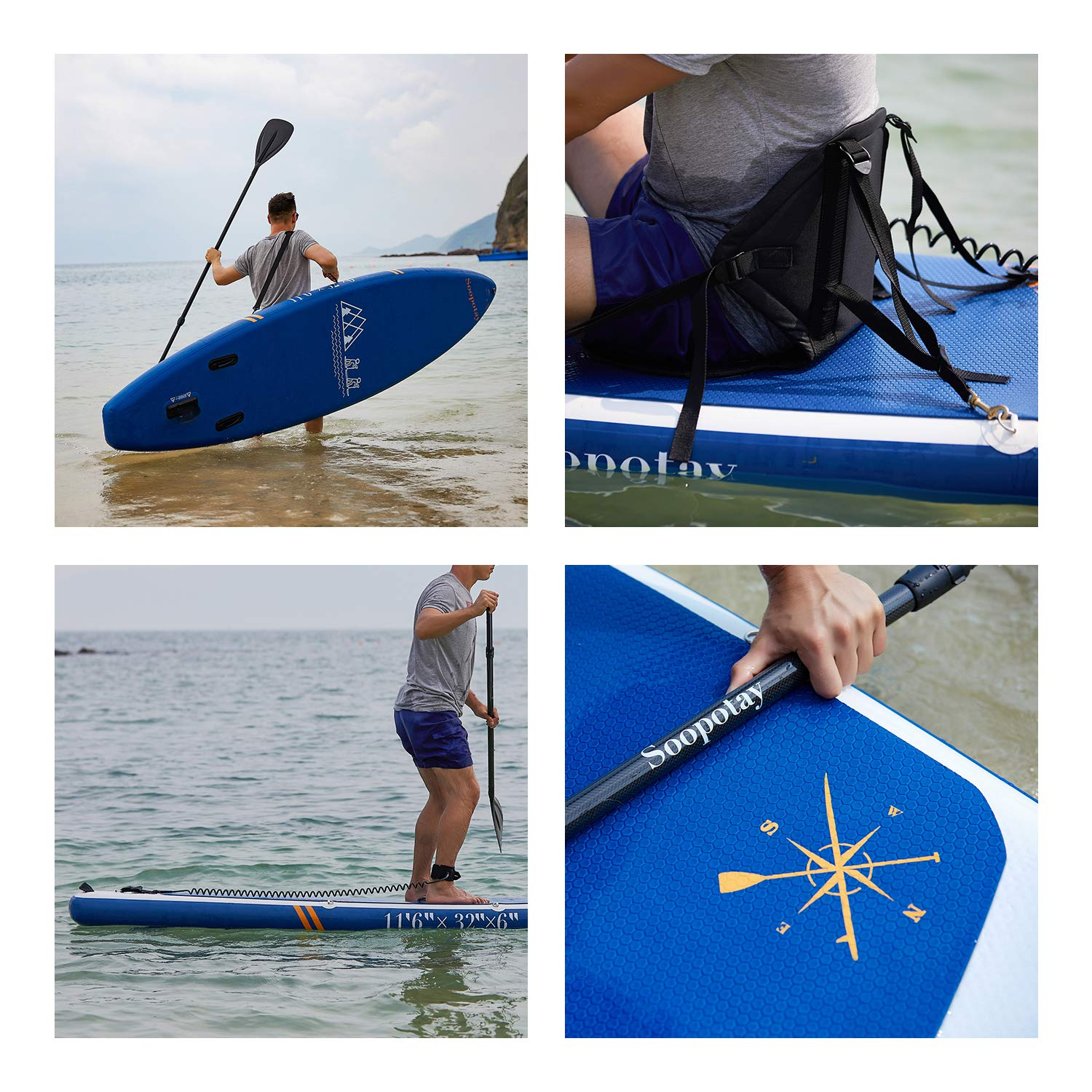Inflatable SUP Board, Inflatable SUP Kayak, iSUP Package with All Accessories (Touring-Navy Blue-11'6'' x 32'' x 6'') by Soopotay (Image #4)