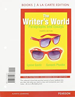 amazon com  the writers world  paragraphs and essays  books a la    the writer    s world  paragraphs and essays  books a la carte plus mywritinglab   pearson