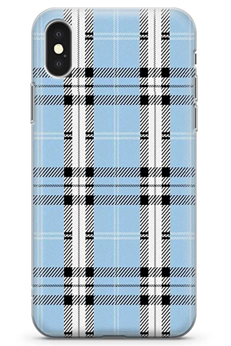 wholesale dealer 411c4 10fd9 Case Warehouse iPhone 10 Case, iPhone X Case, Designer Blue Plaid Phone  Case Clear Ultra Thin Lightweight Gel Silicon TPU Protective Cover | Tartan  ...