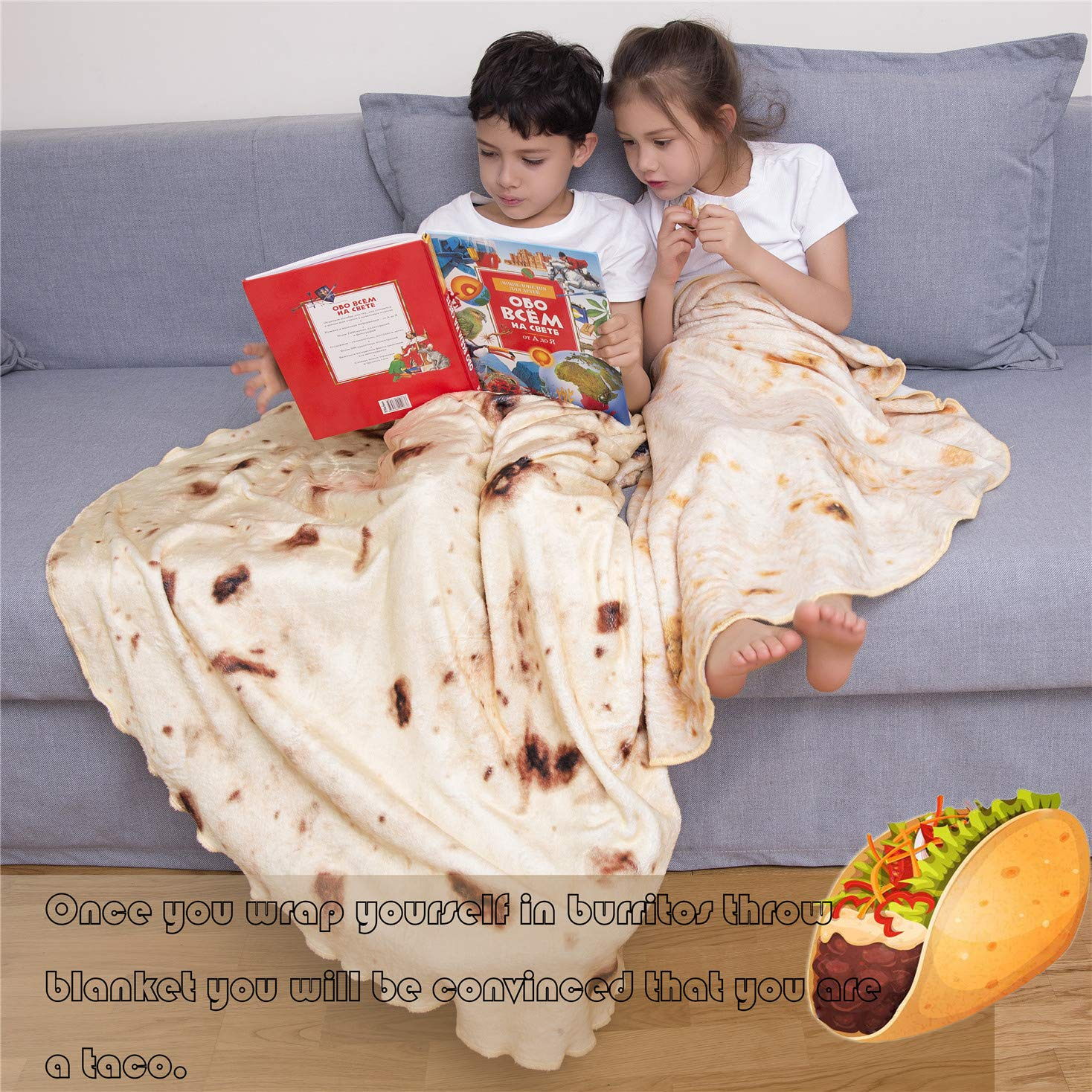 mermaker Burritos Tortilla Blanket, Realistic Burritos Wrap Giant Round Blanket, Novelty Soft Flannel Food Tortilla Blanket for Adults (80'' Diameter, Yellow-4) by mermaker (Image #6)